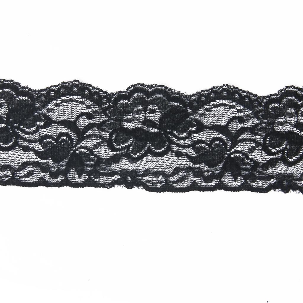 5 Yard 7cm Wide Black Floral Stretch Lace Trim DIY Sewing Applique