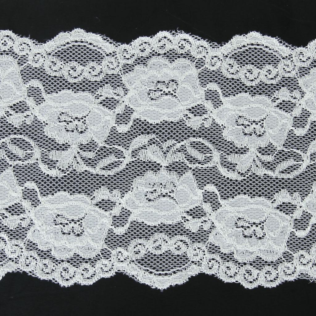5 Yard 15cm Wide White Floral Stretch Lace Trim DIY Sewing Applique