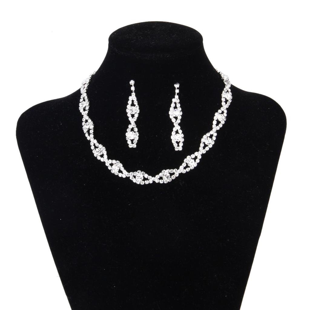 Bridal Wedding Party Jewelry Crystal Rhinestone Twisted Necklace Earring Set