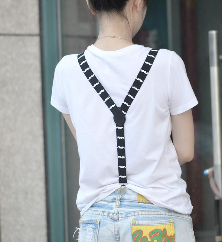 Adult Unisex Clip-on Braces Elastic Y-back Suspender w/White Mustache Beard Patterns Black