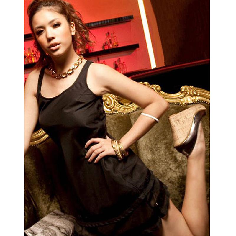 Quality Vest Style Chiffon Dress Black