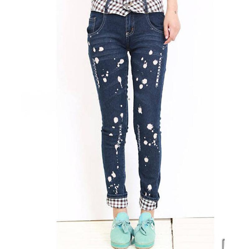 Fashionable Grid Embellished Holes Pants M