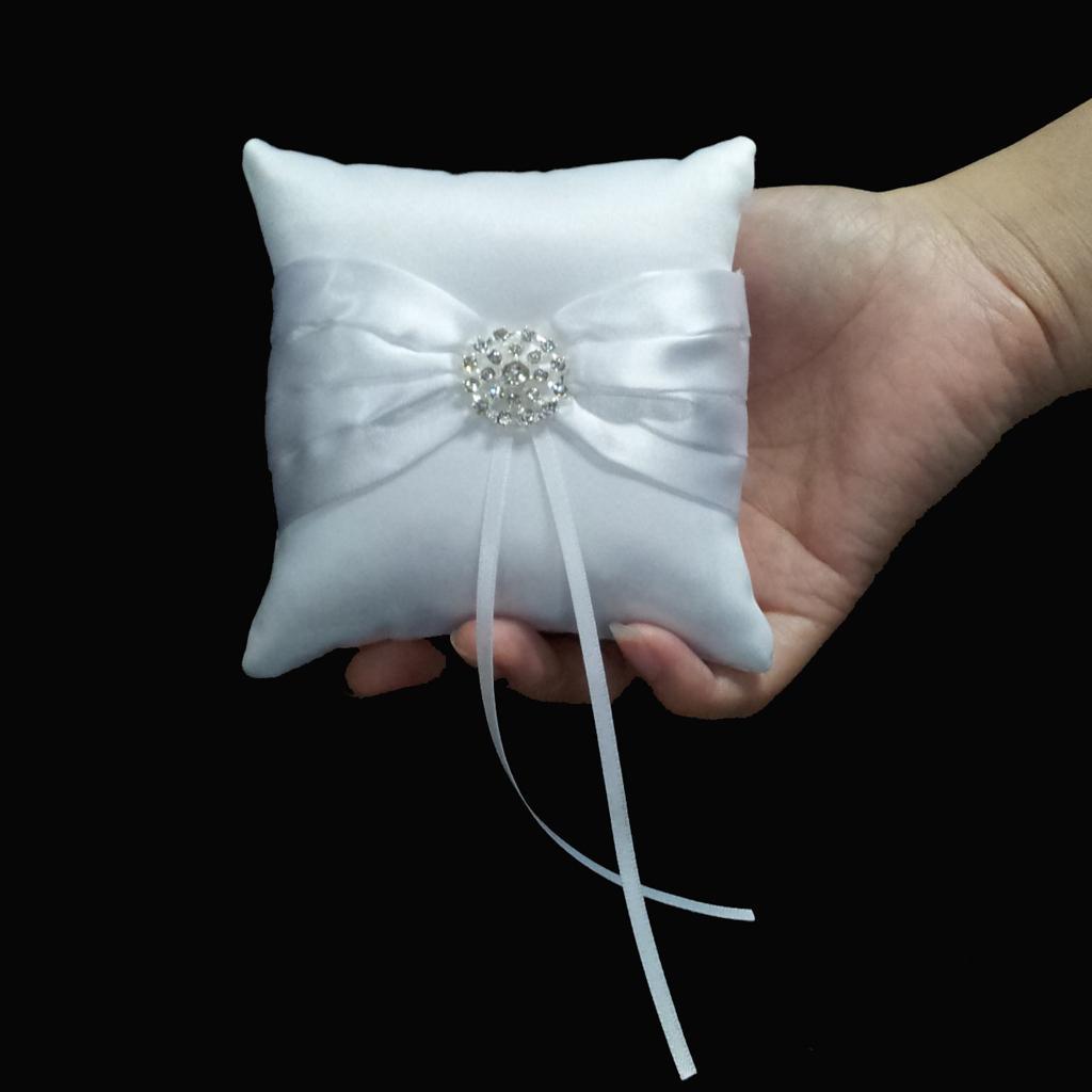 White Satin Bowknot Diamante Wedding Party Pocket Ring Pillow Cushion