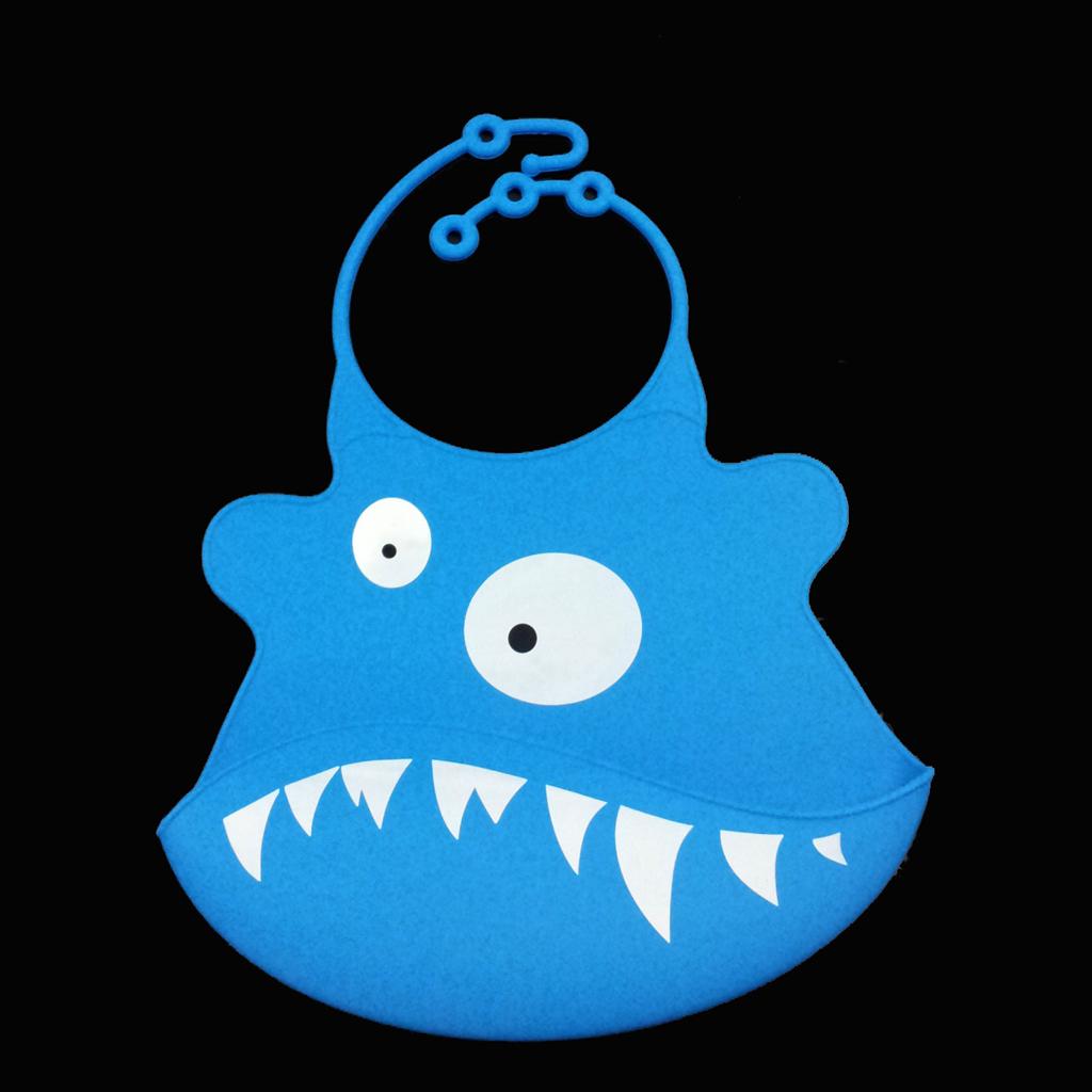 Cute Baby Silicone Bib Waterproof Easy Clean Up Crumb Catcher Blue Shark Pattern