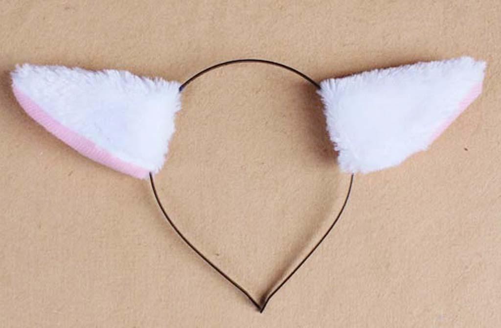 Animal Cosplay Fox Ear Headband Christmas Halloween Costume Accessory White