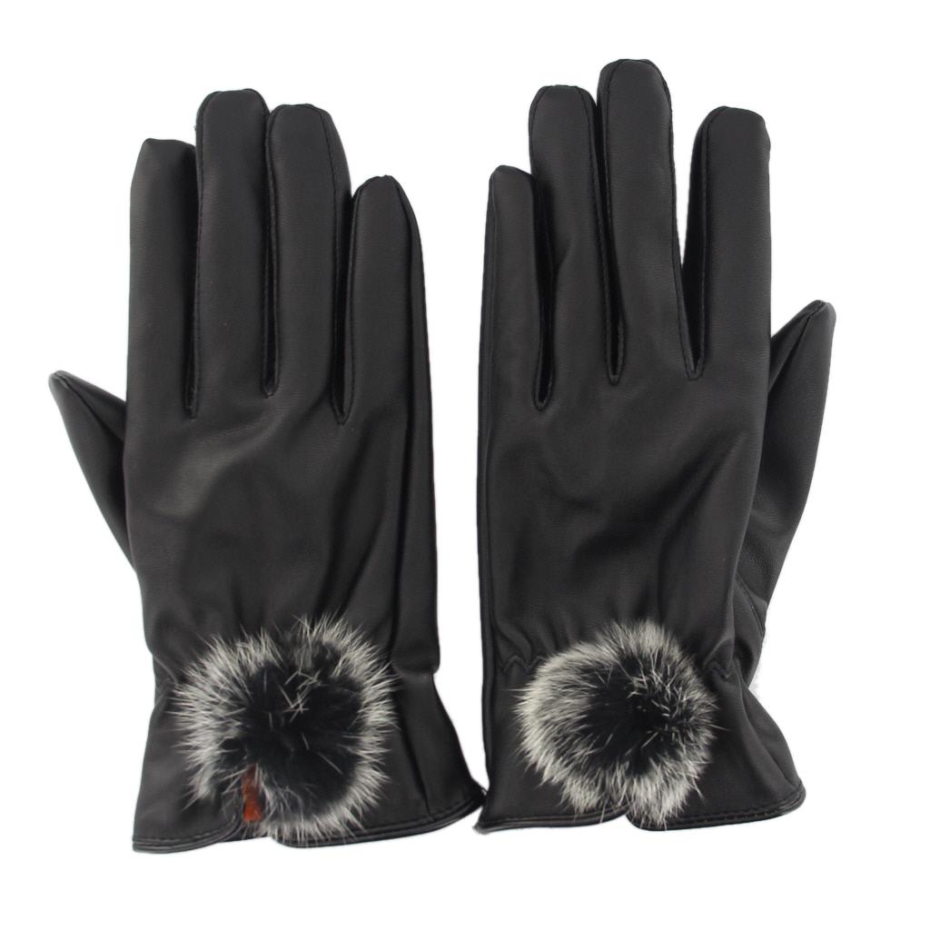 Elegant Women Lady PU Leather Gloves Driving Winter Christmas Gift Warm Mittens w/Fur Ball Black