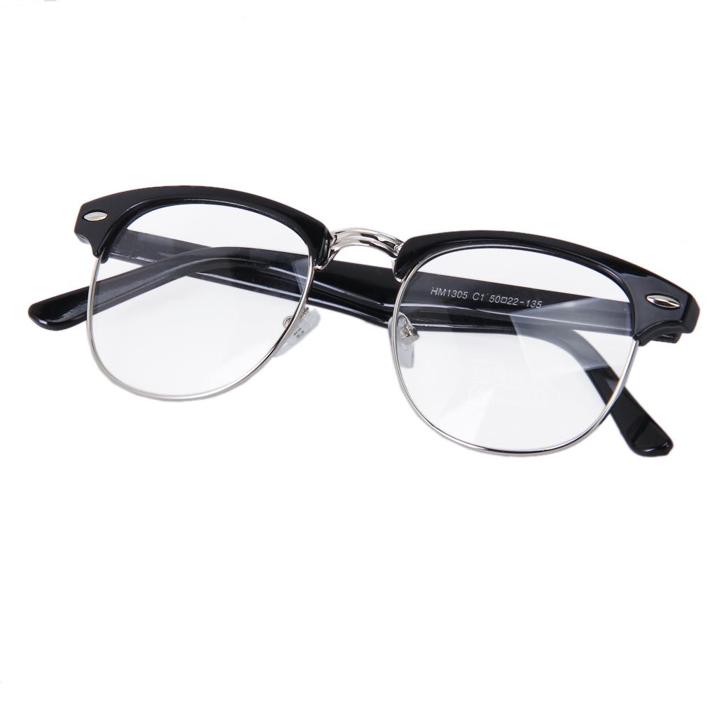 Retro Fashion Metal Frame Clear Lens Square Vintage Eyeglasses Glasses