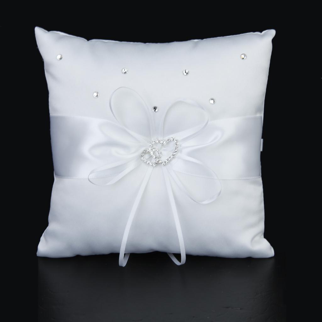 White Double Heart Crystal Rhinestone Ring Pillow Wedding Ring Bearer Cushion