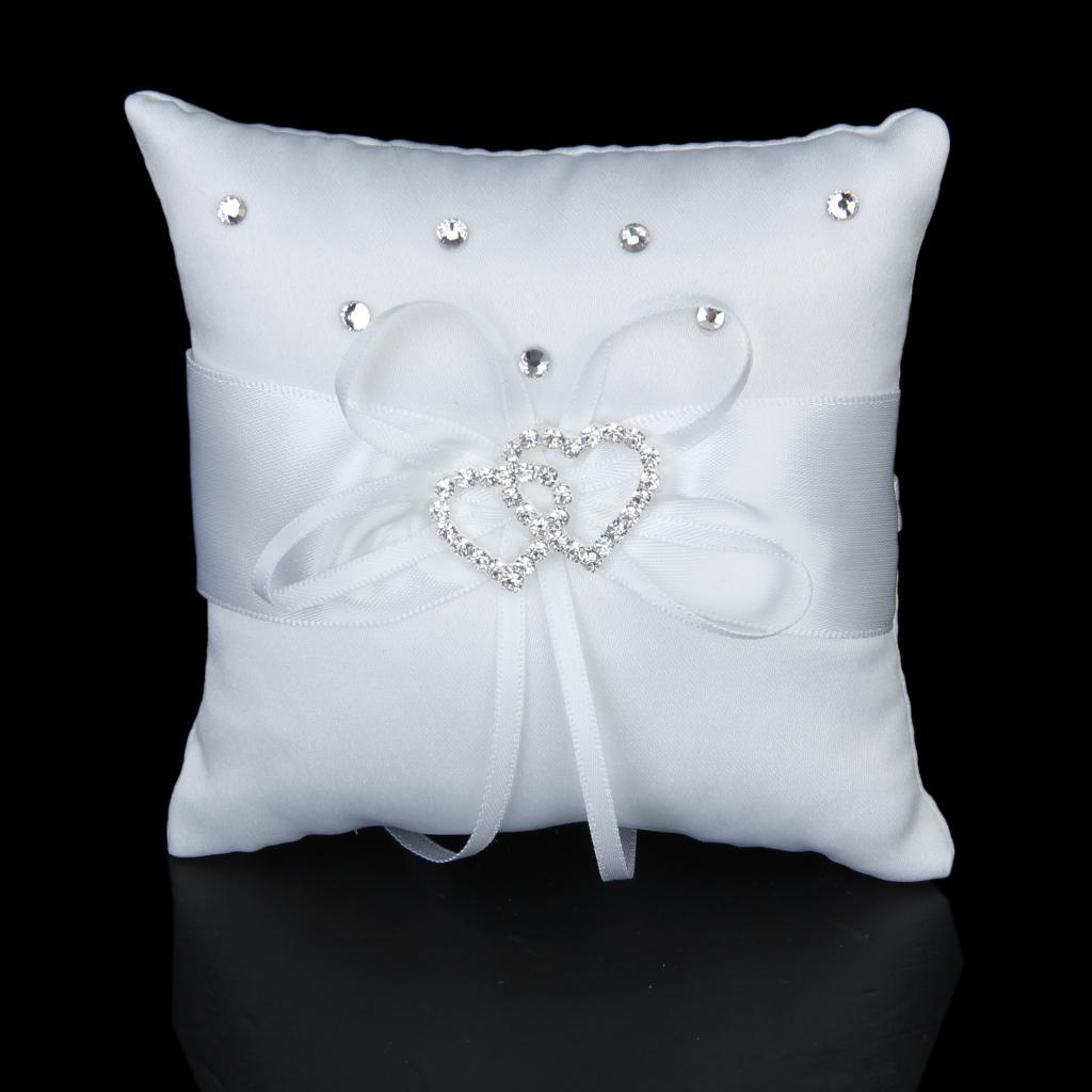 White Double Heart Crystal Rhinestone Wedding Pocket Ring Pillow Cushion