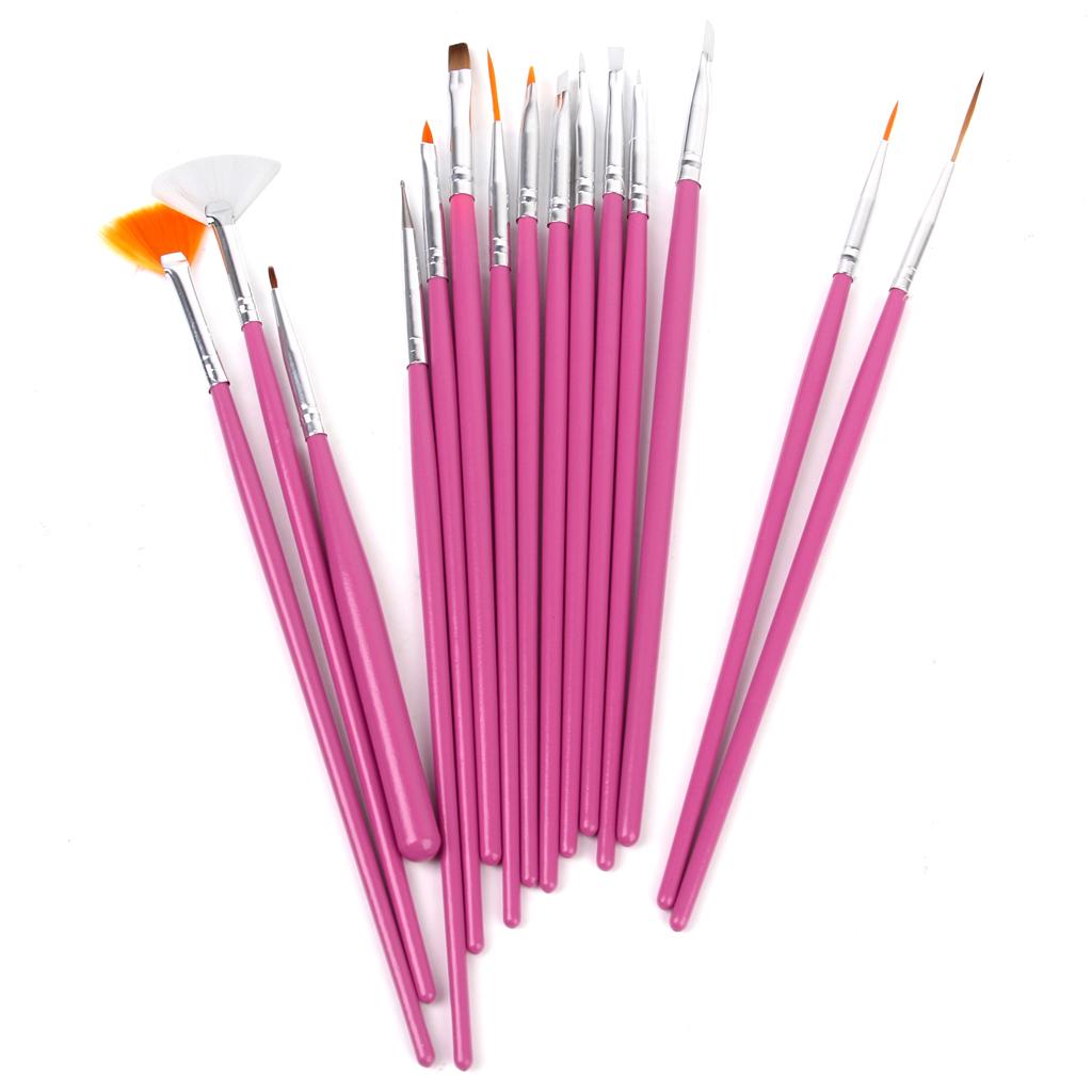 15pcs Nail Art Design Painting Drawing Painting Pen Brush Tool Set - Pink