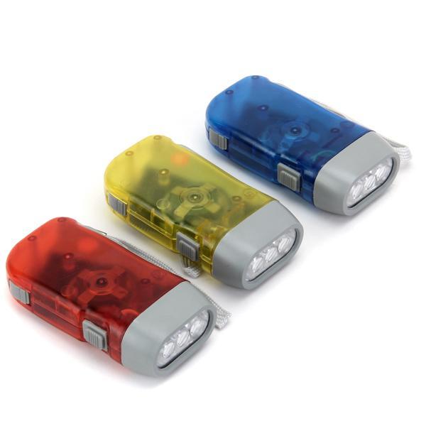 3-LED No Battery Hand Press Flashlight