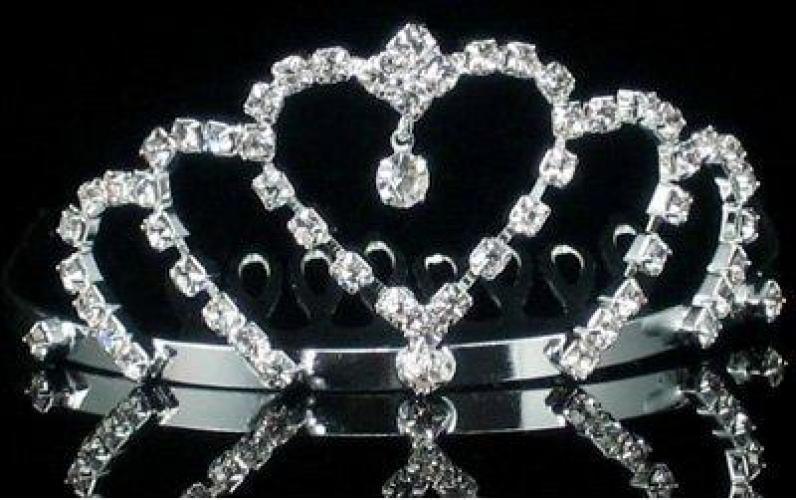 Mini Crystal Heart Rhinestone Princess Crown Tiara Hair Comb