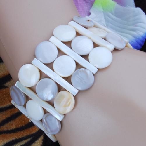 Milky White & Grey Freshwater Shell 1.2 Inch Wide Bracelet