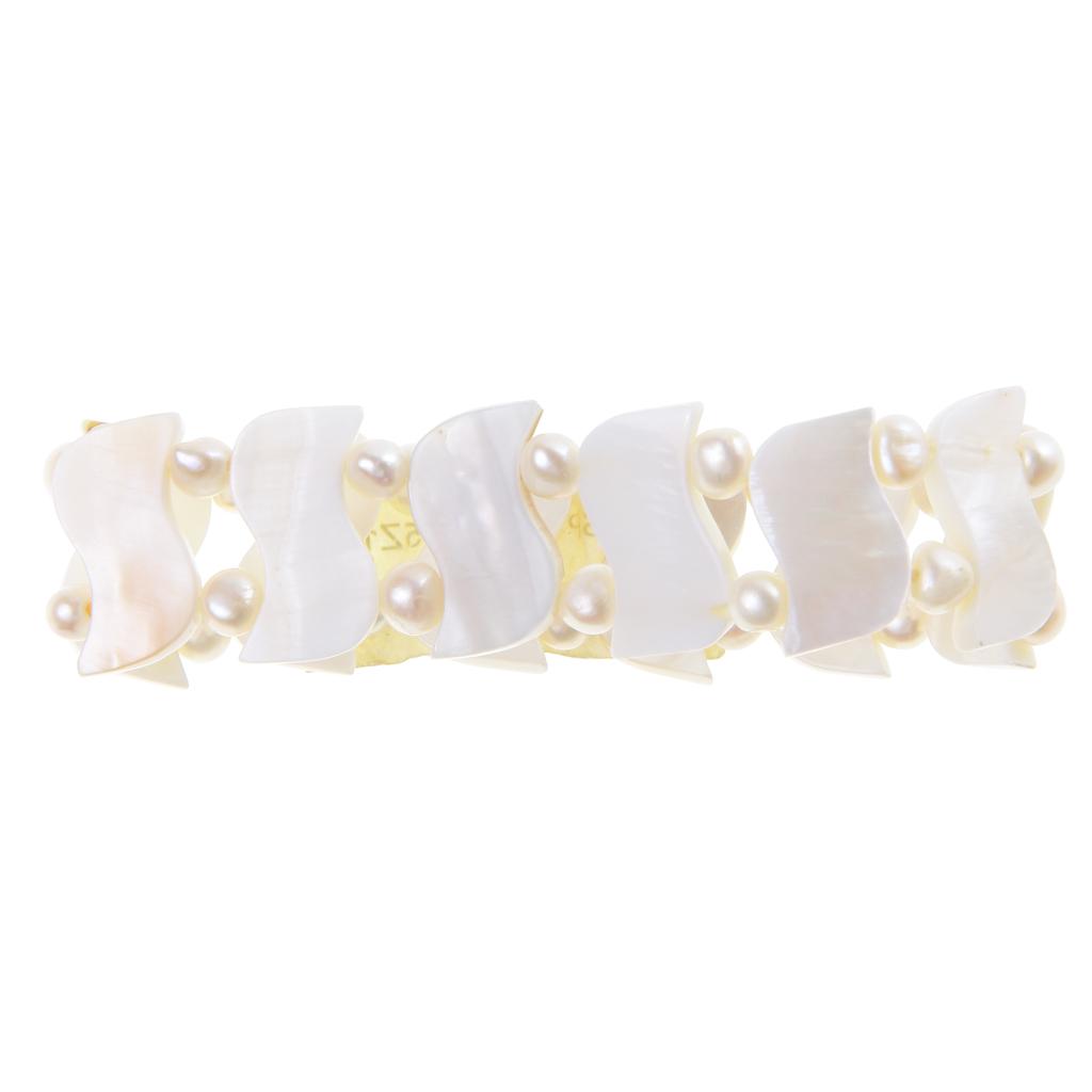 Milky White Freshwater Shell 0.8 Inch Wide Bracelet