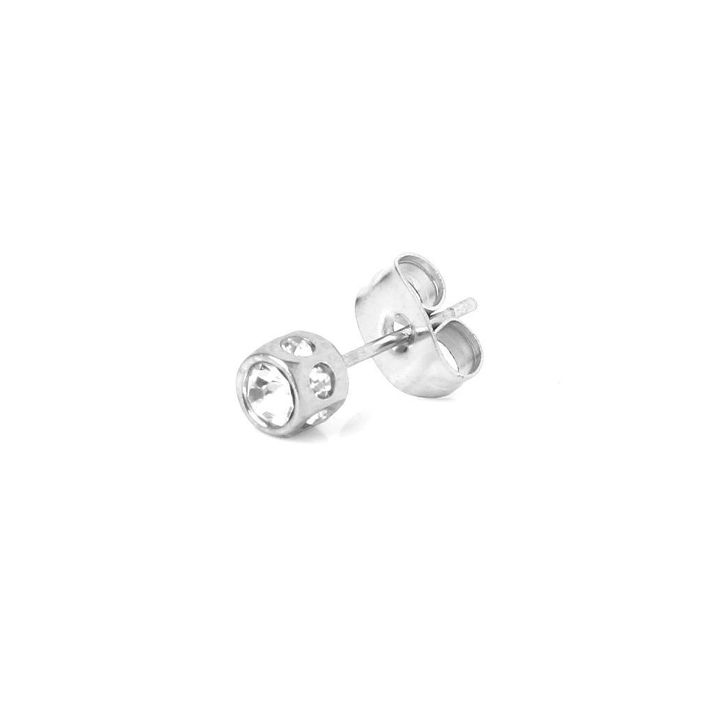 New Mens Earring Ear Stud Stainless Steel Diamante