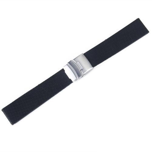 Black Silicone Watch Strap Band Deployment Strap Waterproof 20mm