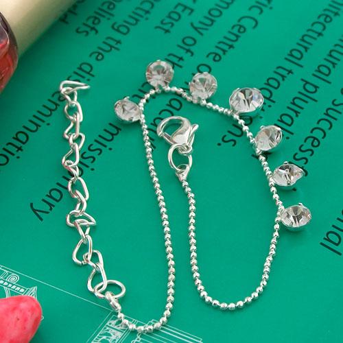 Adjustable Silver-plated Ankle Bracelet Round Pendant Anklet B6