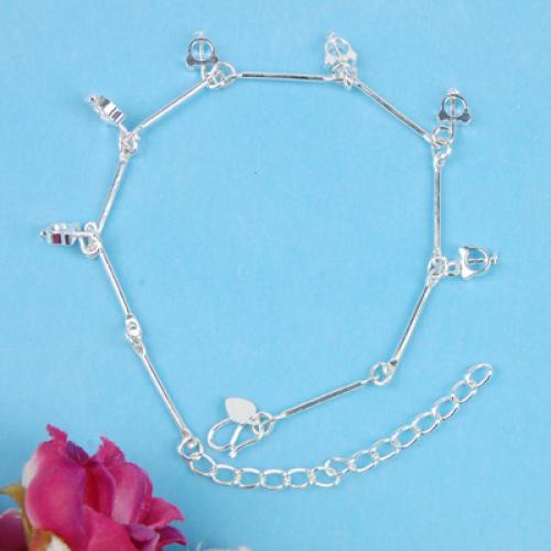 Silver Tone Ankle Chain Bracelet Cathead Pendant Anklet C4