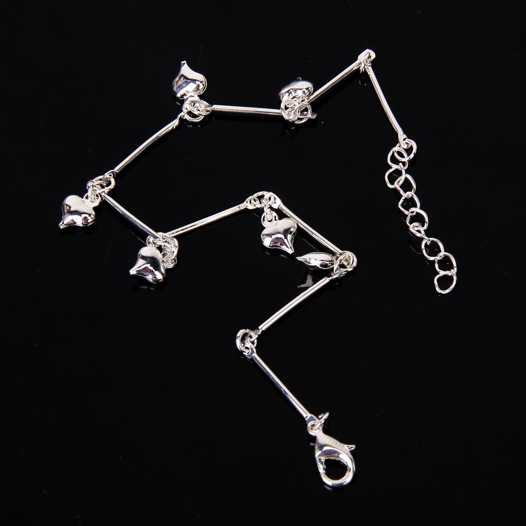 Silver Plated Ankle Bracelet Chain Bar Bracelet Heart Pendant Anklet C6