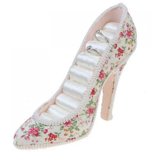 High-heel Shoe Ring Display Jewelry Holder - Flower Pattern