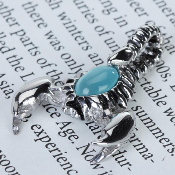 Cool Scorpion Shape Stainless Steel Artificial Zircon Pendant - Blue