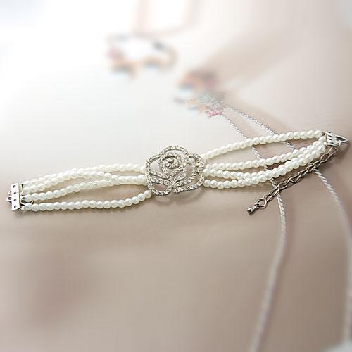 Venetian Pearl Rhinestones Bead Sliver White Multi-strand Bracelet