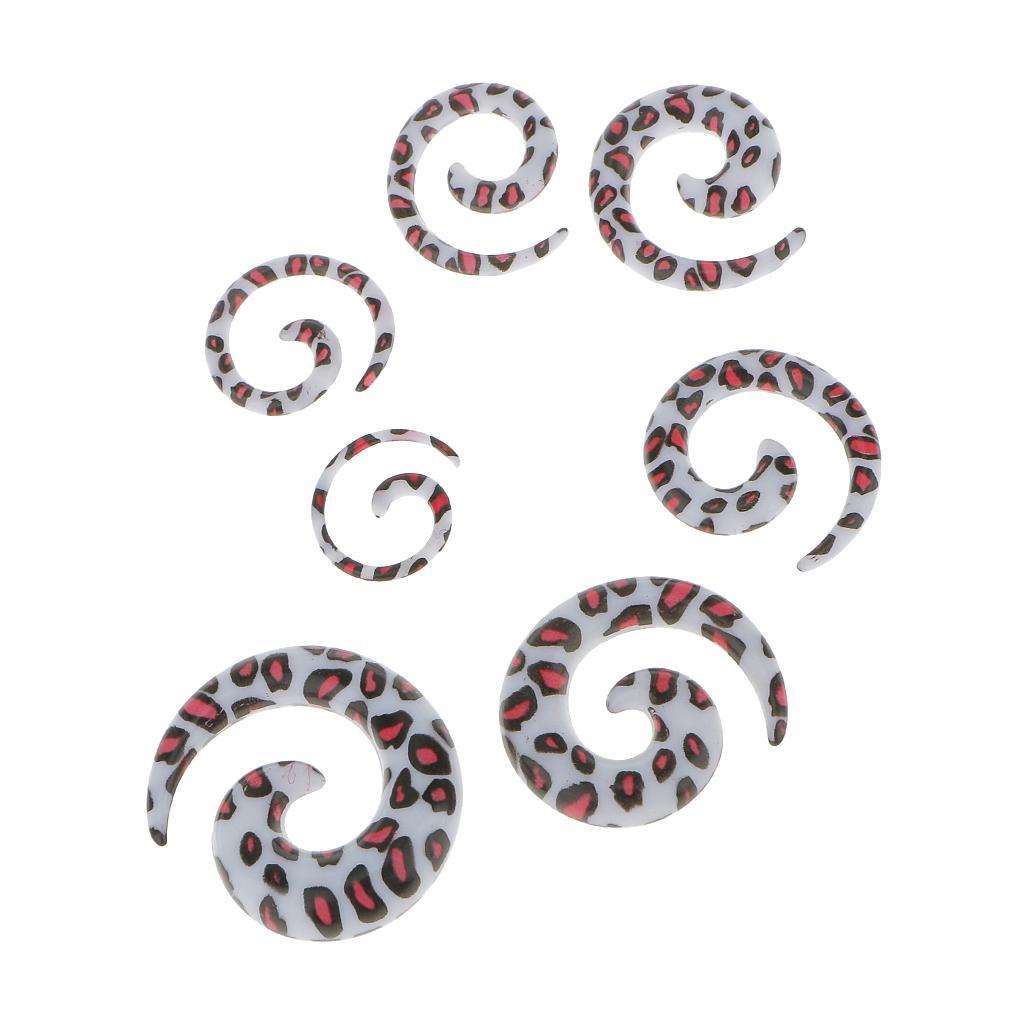 7pcs Acrylic Spiral Ear Stretcher Taper Plug Expander w/ Pink Leopard Pattern