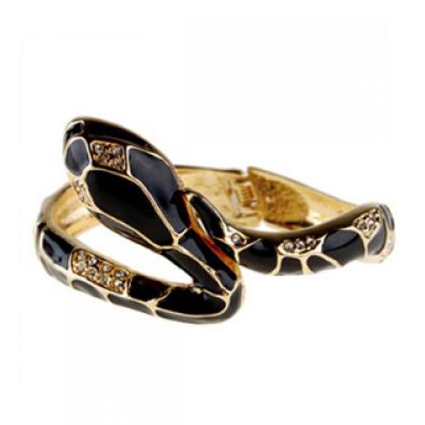 Medusa Crystal Enamel Alloy Snake Bracelet Bangle
