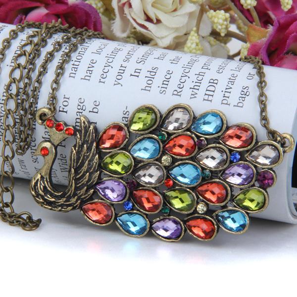 Vintage Style Peacock Pendant Necklace w/ Multicolor Rhinestones