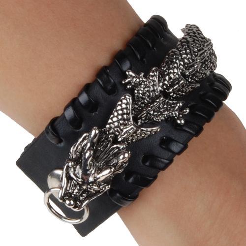 Black Leather Gothic Dragon Wristband Bracelet