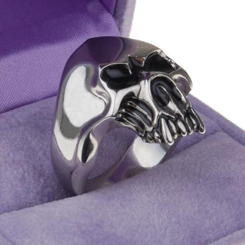 Silver Tone Skull Skeleton Ring Titanium Steel US Size 10