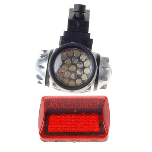 Bicycle 21-LED Headlight Front Light And 5-LED Rear Lamp Flashlight