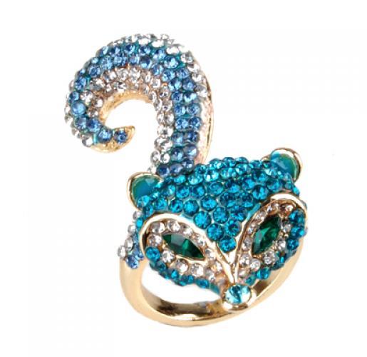 Gold Tone Animal Fox Cocktail Ring Rhinestones Blue Size 8