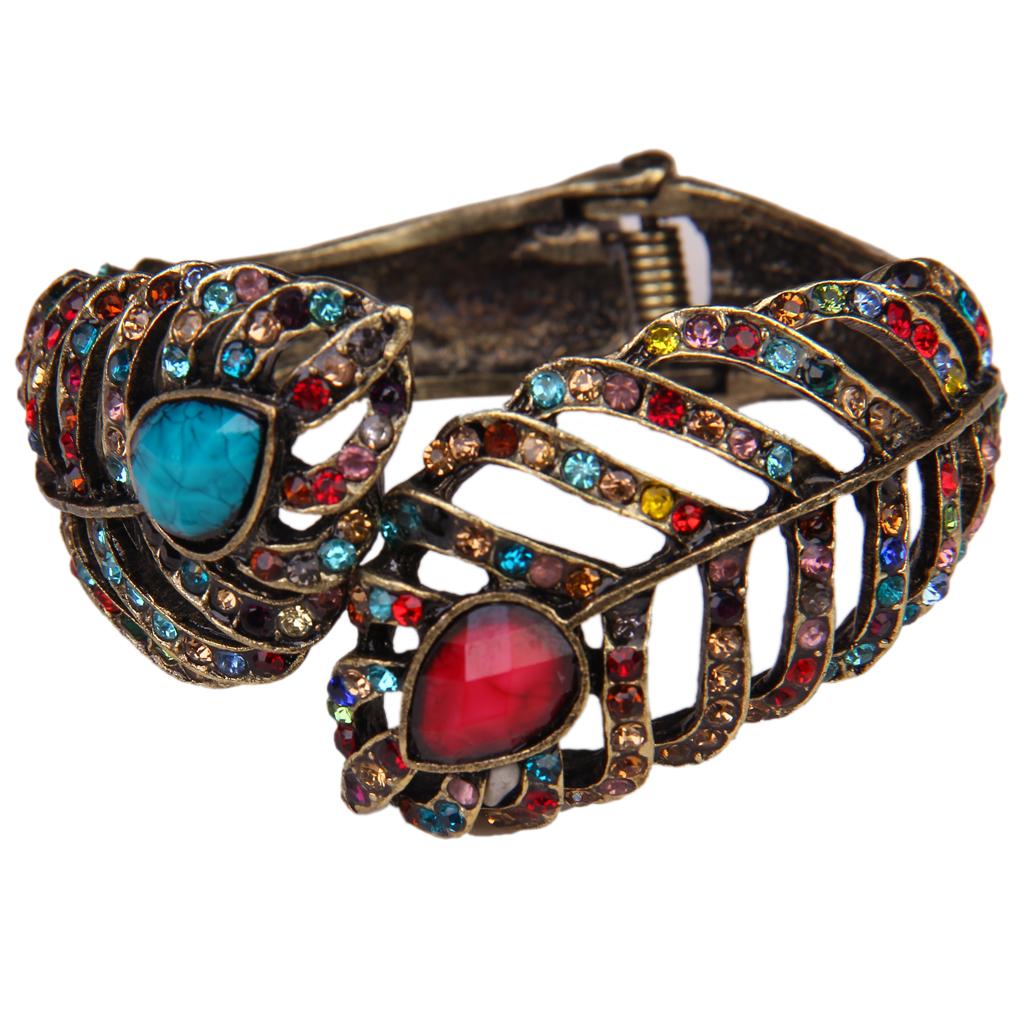 Peacock Feather Bangle Bracelet w/ Rhinestones