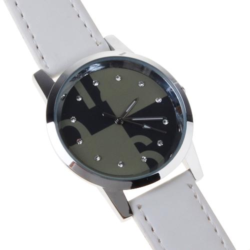 White Fashion Ladies Quartz Wrist Watch with Rhinestones