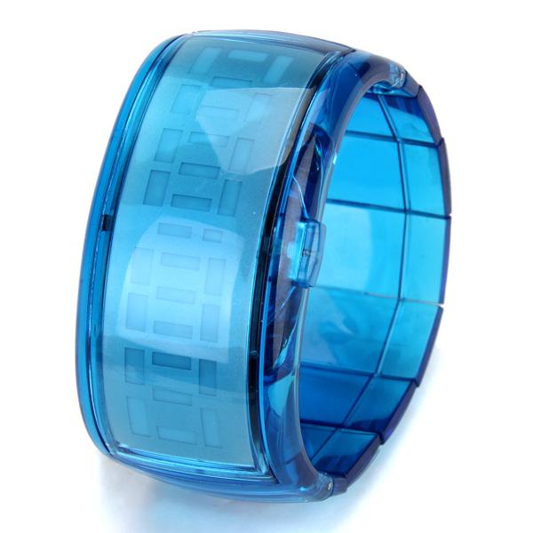 Cool Red LED Light Digital Bracelet Jelly Wrist Watch Wristwatch - Blue