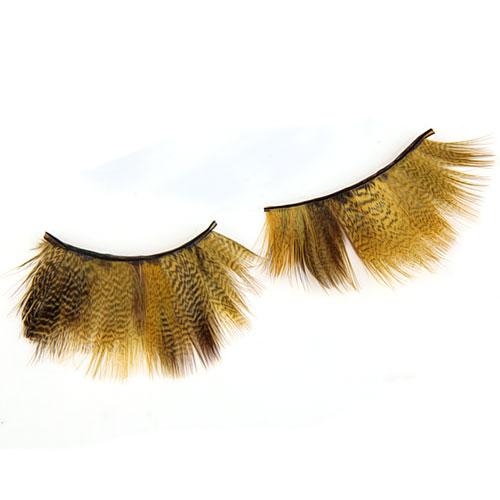 1 Pair Feather Longer False Eyelashes Eye Lash - Yellow