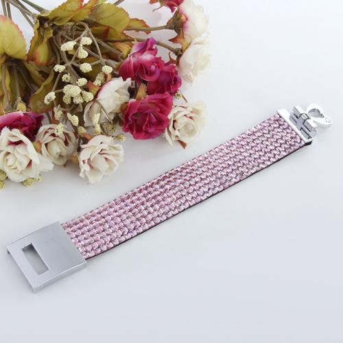 7-Row Rhinestone Bracelet - Pink