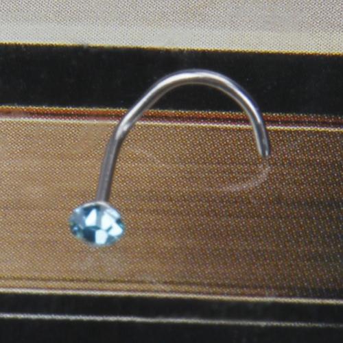 Stainless Steel Rhinestone Nose Screw Ring Stud - Aqua