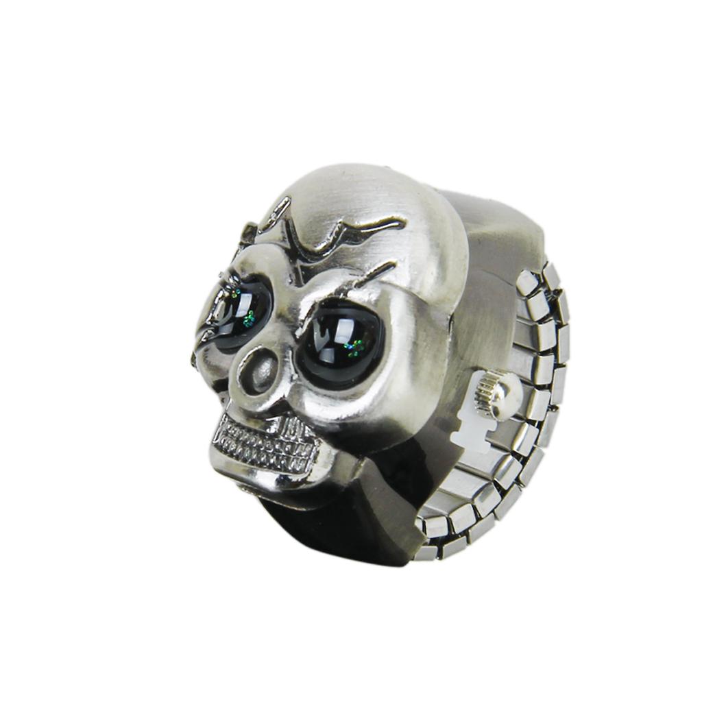 Bronze Skull Cover Finger Ring Watch for Unisex