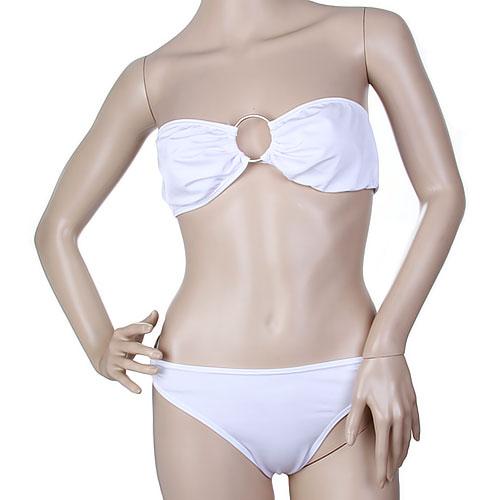 Women Sexy Strapless Bandeau Bikini Set Swimsuit w/ O Ring - White