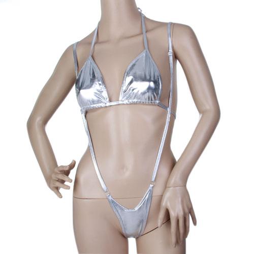 Women Sexy Micro Sling Bikini Lingerie Set Halter Top - Sliver
