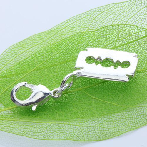Aluminium Alloy Men Razor Blade Necklace Pendant - Silvery