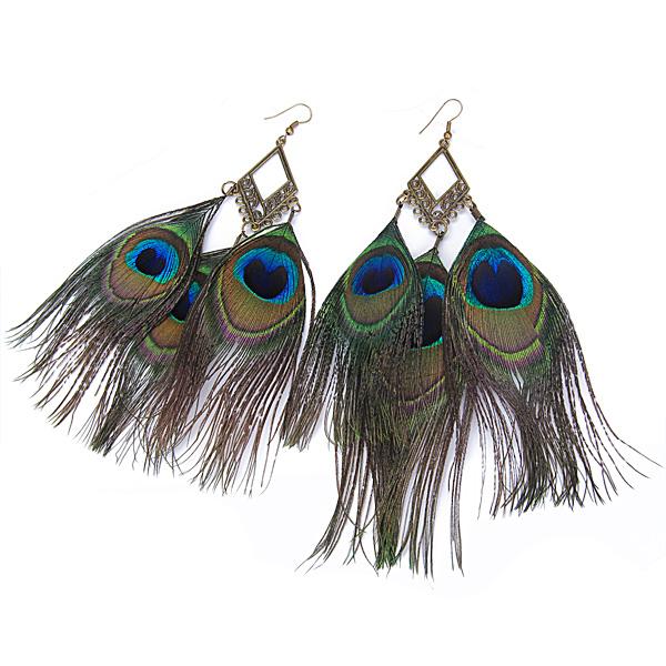 Light Graceful Peacock Feather Dangling Hook Earrings
