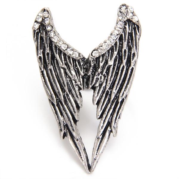 Cute Silvery Tone Angel Wings Ring