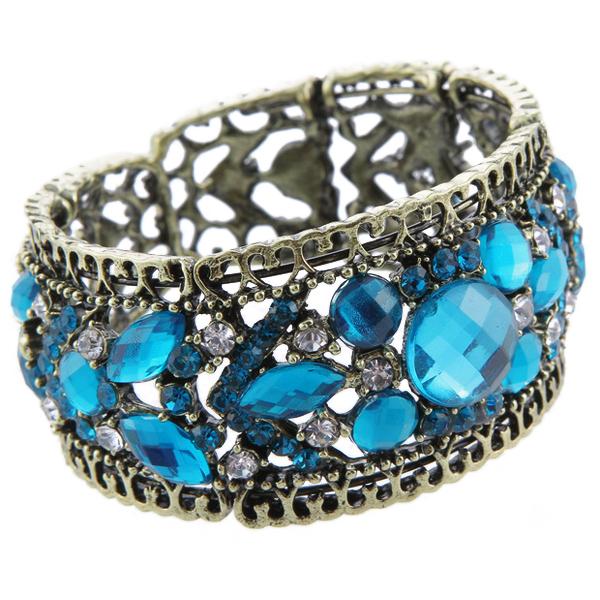 Archaise Aqua Rhinestones Charming Brass Tone Cuff Bracelet Bangle