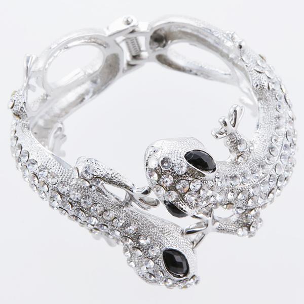 Silvery Lizard Rhinestone Bangle Cuff Bracelet - Silvery