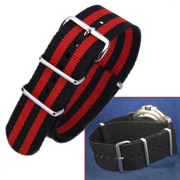 24mm Lug Nylon UTC Military Diver NATO Watch Band Strap - Red Black