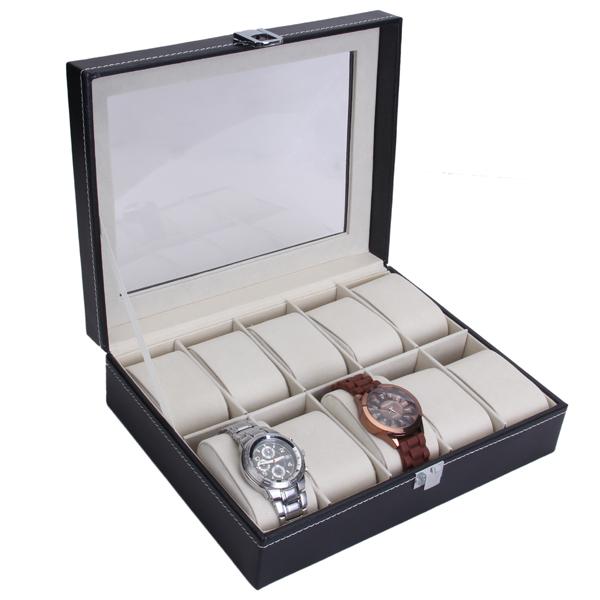 10 Grid Watch Display Storage Box Holder - Black