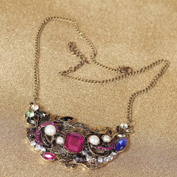 Retro Vintage Colorful Beads Acrylic Flower Pendant Necklace